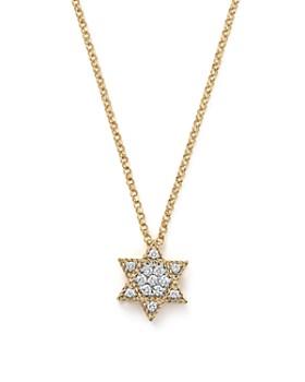 "Roberto Coin - 18K Yellow Gold Tiny Treasures Princess Diamond Star of David Necklace, 18"""