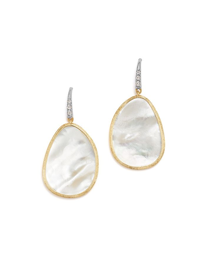 Marco Bicego - 18K White & Yellow Gold Lunaria Mother-Of-Pearl & Diamond Earrings