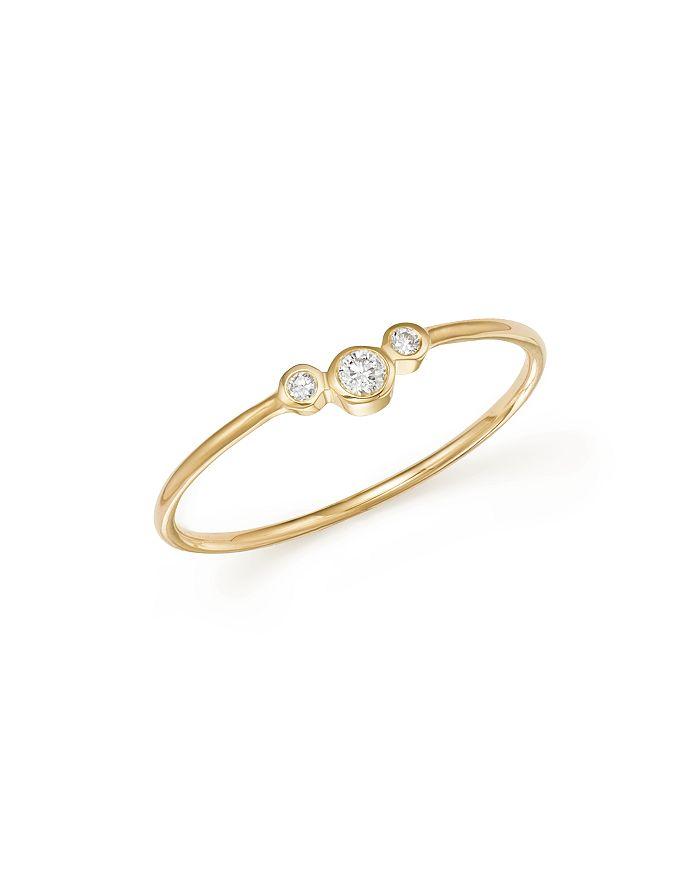 Zoë Chicco - 14K Yellow Gold Small Triple Graduated Diamond Curved Bezel Ring
