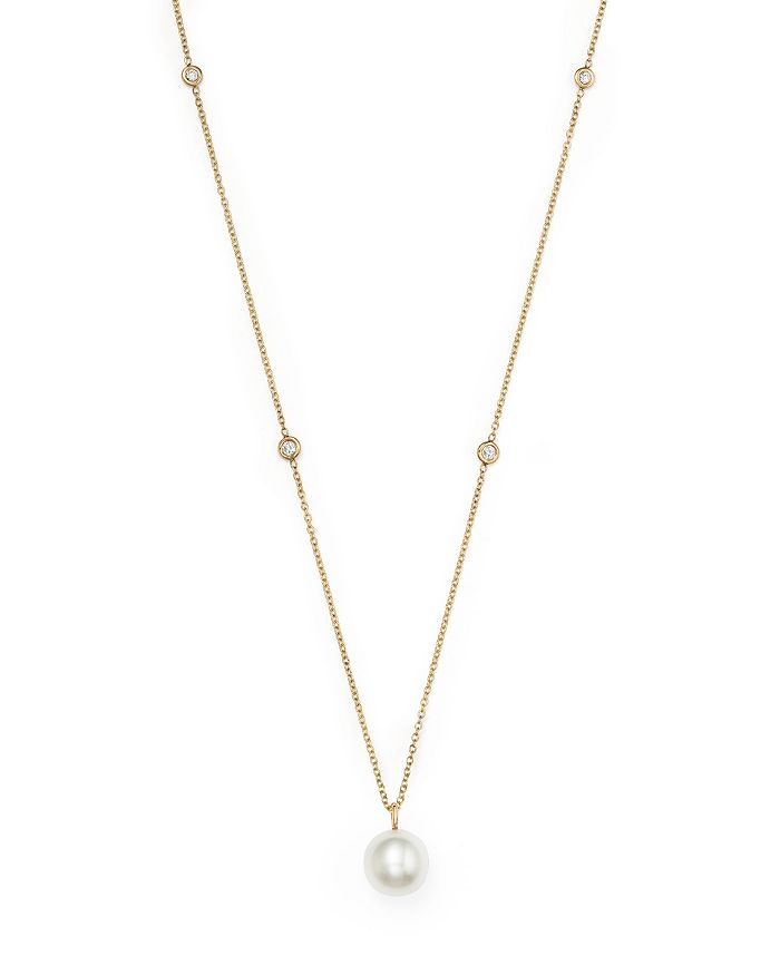 ZoË Chicco 14K Yellow Gold Cultured Freshwater Pearl & Diamond Station Necklace, 18 In White/Gold