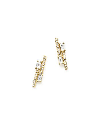 KC Designs - 14K Yellow Gold Diamond Mosaic Double Row Stud Earrings