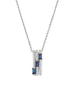 "KC Designs - 14K White Gold Diamond & Sapphire Mosaic Necklace, 16"""
