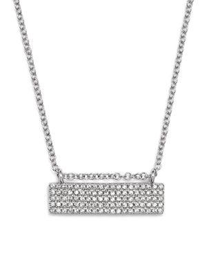 Kc Designs 14K White Gold Diamond Pave Bar Necklace, 16