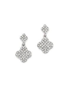 KC Designs - 14K White Gold Diamond Clover Drop Earrings