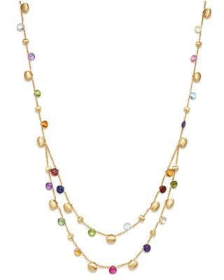MARCO BICEGO 18K Yellow Gold Paradise Teardrop Two Strand Gemstone Necklace