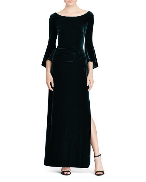 Ralph Lauren Velvet Bell-Sleeve Gown | Bloomingdale\'s