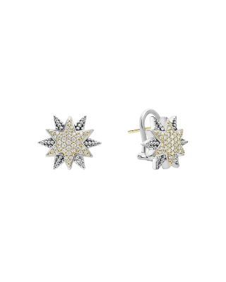 18K Gold & Sterling Silver North Star Diamond Small Stud Earrings