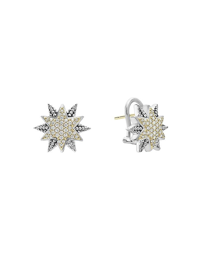 LAGOS - 18K Gold & Sterling Silver North Star Diamond Small Stud Earrings