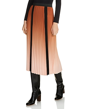 Maje Javany Ombre Pleated Midi Skirt