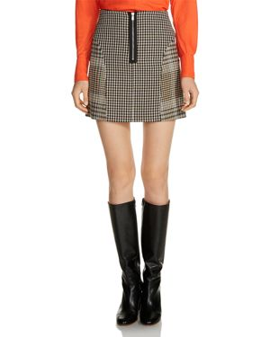 Maje Joxy Mixed Plaid Mini Skirt