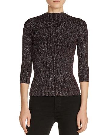 $Maje Mio Metallic Ribbed Sweater - Bloomingdale's