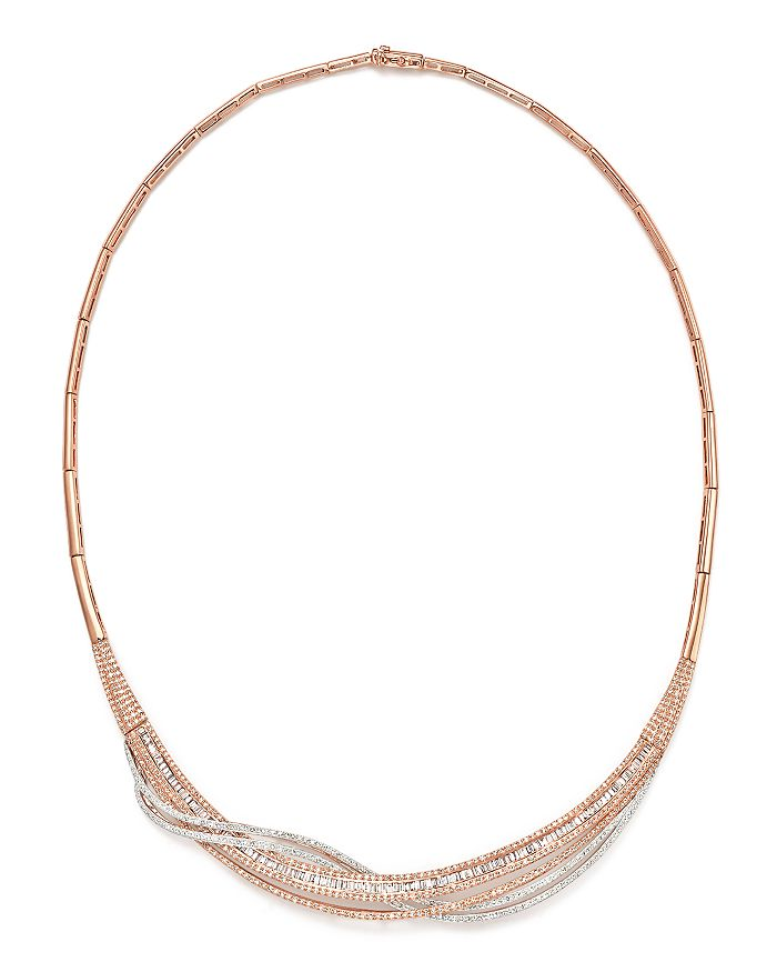 Bloomingdale's - Diamond Round & Baguette Collar Necklace in 14K Rose & White Gold, 3.60 ct. t.w. - 100% Exclusive