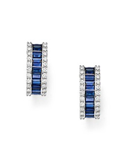 Bloomingdale's - Blue Sapphire & Diamond Earrings in 14K White Gold - 100% Exclusive