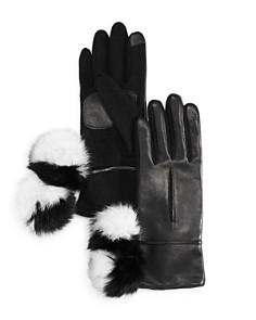 Echo Color-Block Rabbit Fur Pom-Pom Tech Gloves - Bloomingdale's_0