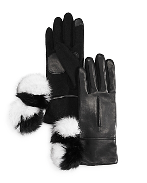 Echo Color-Block Rabbit Fur Pom-Pom Tech Gloves