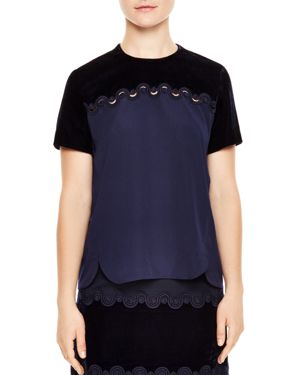 Sandro Luke Velvet-Panel Braid-Detail Top