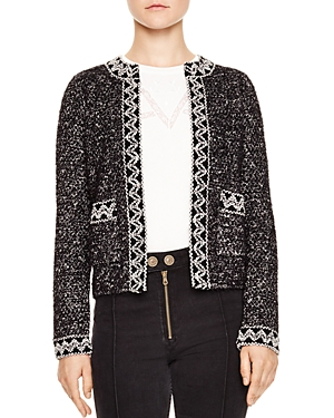 Sandro Cladie Sparkle Embroidered Cardigan