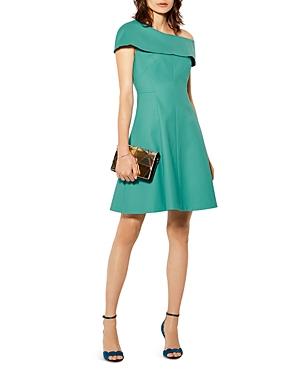 Karen Millen One-Shoulder Overlay A-Line Dress