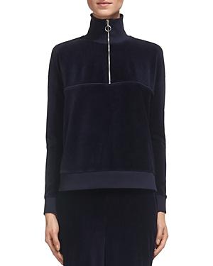 Whistles Zip Mock-Neck Velour Sweatshirt