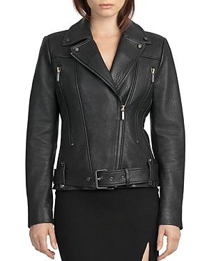 Bagatelle. city Belted Leather Moto Jacket