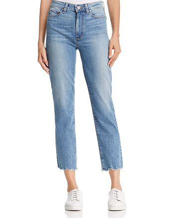 PAIGE - Jacqueline Straight Distressed-Hem Jeans in Elmira - 100% Exclusive