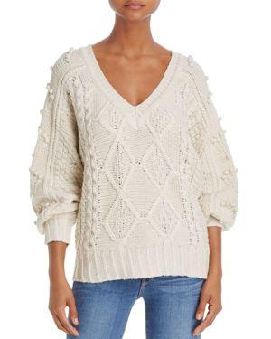 Molly Bracken Cable & Pom-Pom Sweater
