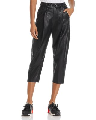 MOLLY BRACKEN Faux Leather Track Pants in Black