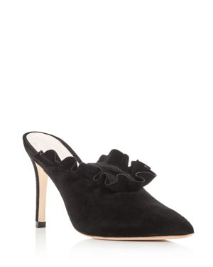 Loeffler Randall Women's Langley Suede Pointed Toe High Heel Mules
