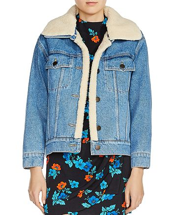 8a084d415 Maje Baxter Faux-Fur-Trimmed Denim Jacket | Bloomingdale's