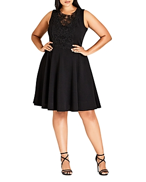 City Chic Lace-Front Skater Dress