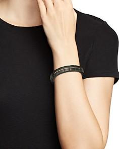 Roberto Demeglio - 18K Rose Gold & Matte Black Ceramic Domino Luce Square Stretch Bracelet with Champagne Diamonds