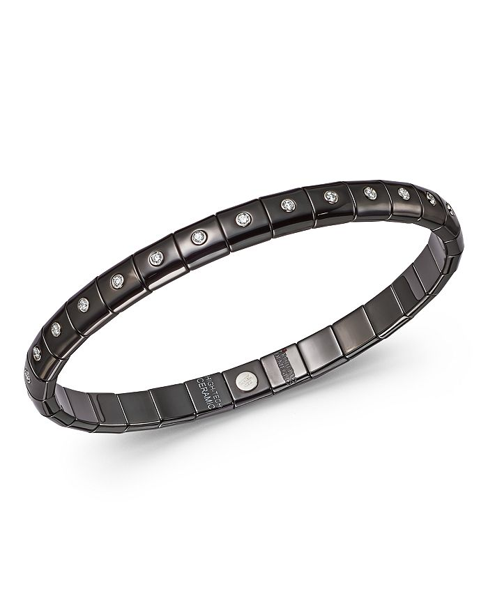 Roberto Demeglio - 18K White Gold & Black Ceramic Pura Stretch Bracelet with Diamond Bezels