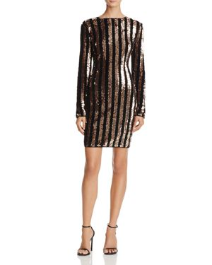 Sunset + Spring Sequin-Stripe Velvet Dress - 100% Exclusive