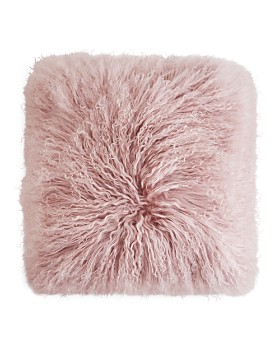 "Eightmood - Mongolian Sheep Fur Decorative Pillow, 16"" x 16"""