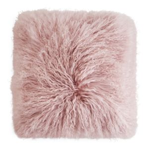 Eightmood Mongolian Sheep Fur Decorative Pillow, 16 x 16