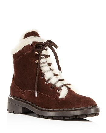Aquatalia - Women's Lenore Weatherproof Suede & Shearling Lace Up Booties