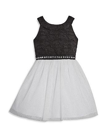 US Angels - Girls' Sleeveless Dress with Glitter & Jewel Details - Little Kid