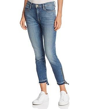 Frame Le High Skinny Released Zip-Cuff Jeans in Revere Wash