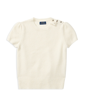 Ralph Lauren Childrenswear Girls' Sweater with Puff Sleeves - Big Kid