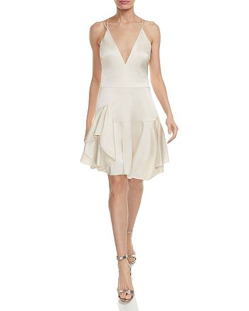 HALSTON HERITAGE - Double-Strap Satin Cami Dress