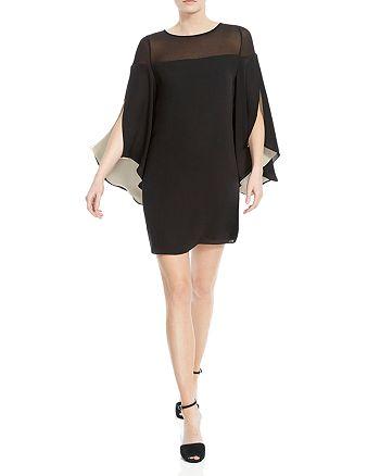 HALSTON HERITAGE - Sheer-Detail Cape-Sleeve Dress