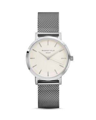ROSEFIELD Tribeca Mesh Strap Watch, 33Mm in Silver