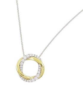 Frederic Sage - 18K White & Yellow Gold Diamond Halo Pendant Necklace, 16""