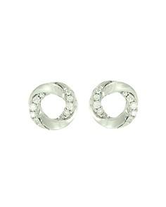 Frederic Sage - 18K White Gold Mini Halo Diamond Stud Earrings