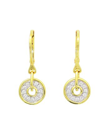 Frederic Sage - Diamond Firenze Spinning Disc Drop Earrings in 18K White & Yellow Gold