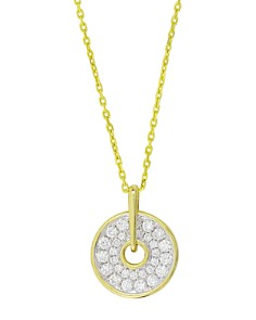 """Frederic Sage - 18K White & Yellow Gold Firenze Small Graduated Diamond Spinning Disc Pendant Necklace, 16"""""""
