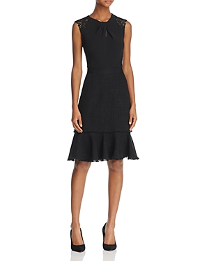 Rebecca Taylor Lace & Tweed Fit-and-Flare Dress