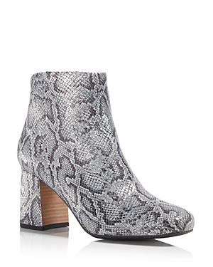 Gentle Souls Women's Troy Snake-Embossed Metallic Leather Block Heel Booties - 100% Exclusive