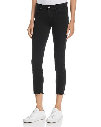 PAIGE - Verdugo Ankle Skinny Jeans in Black Super Distressed - 100% Exclusive