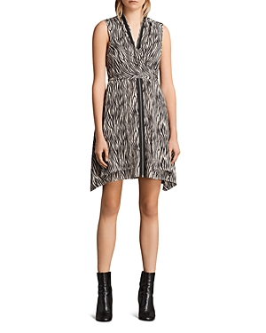 Allsaints Jayda Zebra-Print Silk Dress